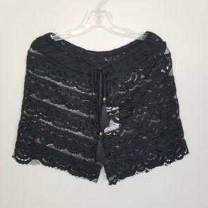 Blue Island Black Lace Drawstring Short SZ L